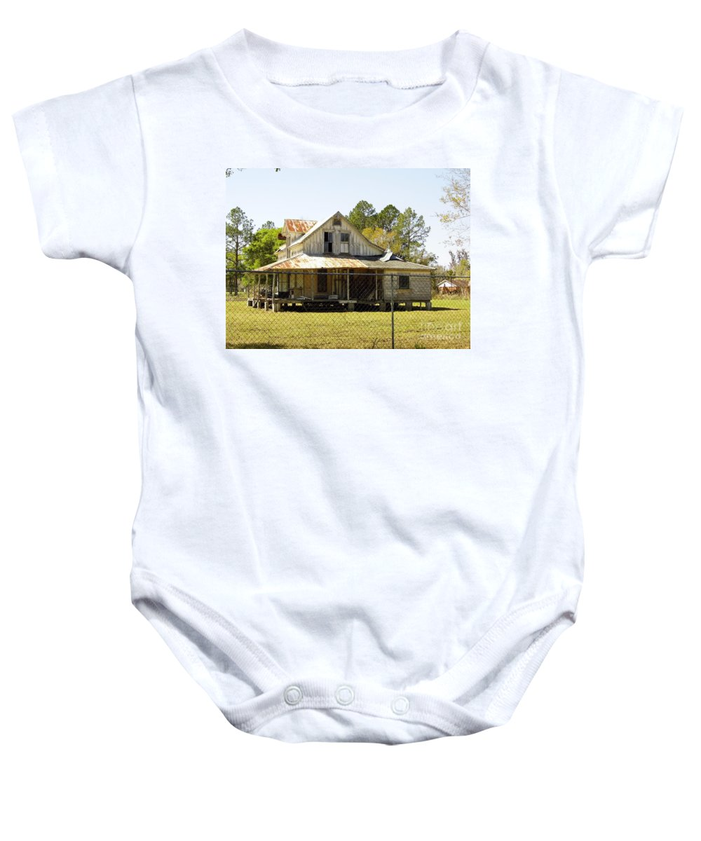 Abandoned Baby Onesie featuring the photograph Old Abandoned Cracker Home by D Hackett