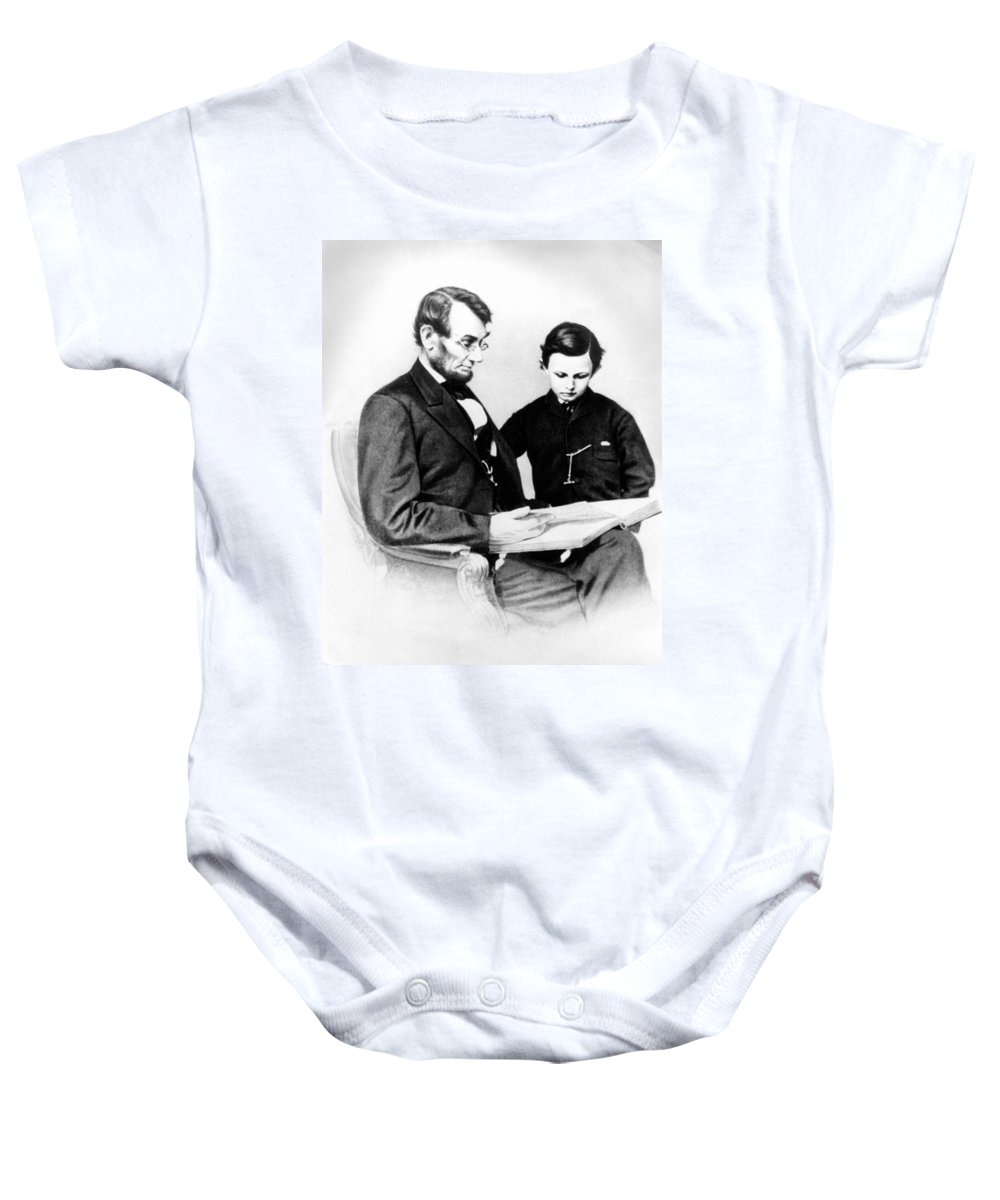 Vertical Baby Onesie featuring the photograph Abraham Lincoln And Tad by Anonymous