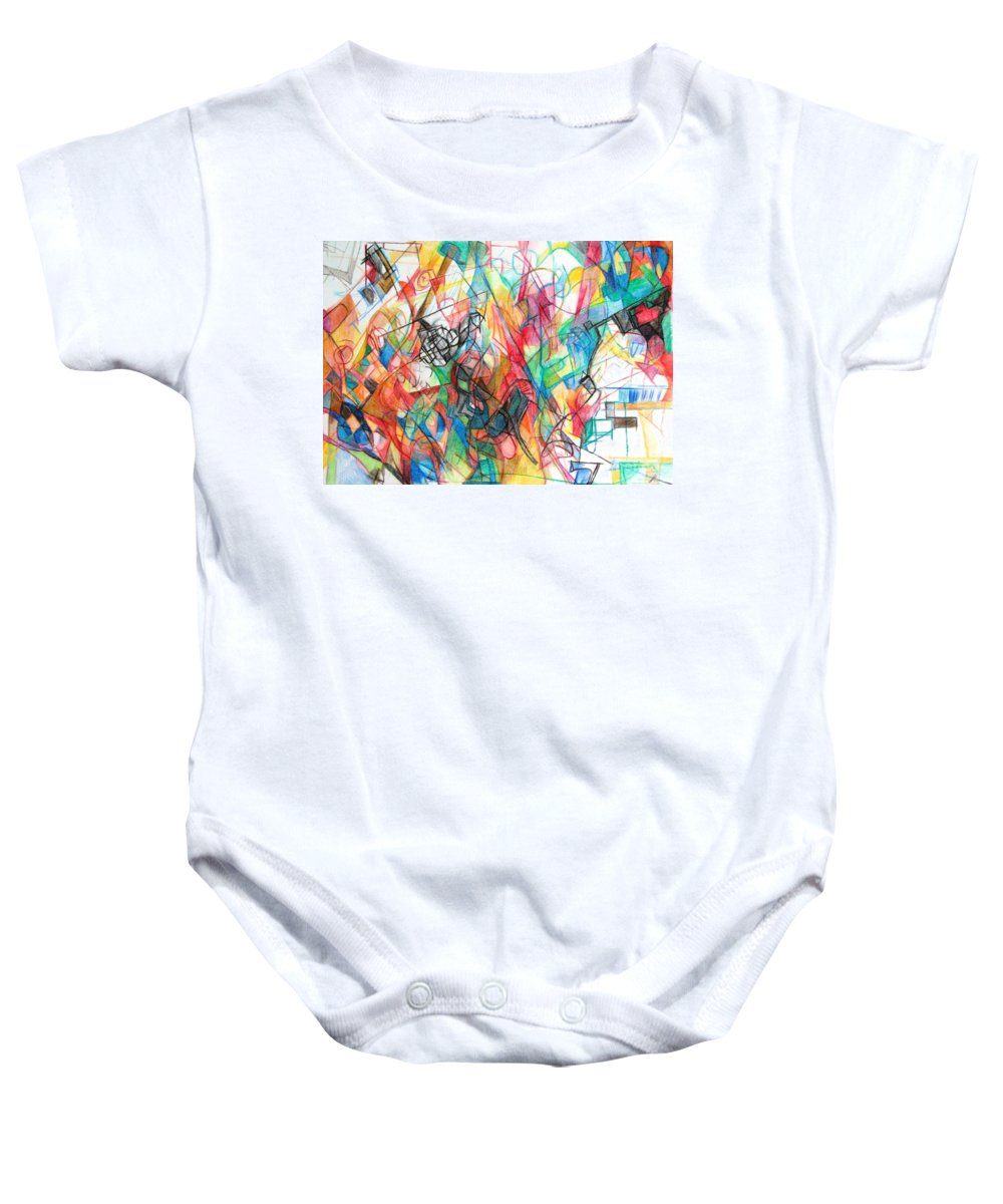 Torah Baby Onesie featuring the drawing Abstract Art Focused Inward Towards The Divine 4 by David Baruch Wolk