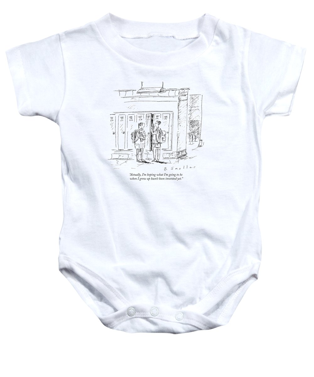 Hope Baby Onesie featuring the drawing Actually, I'm Hoping What I'm Going To Be When by Barbara Smaller