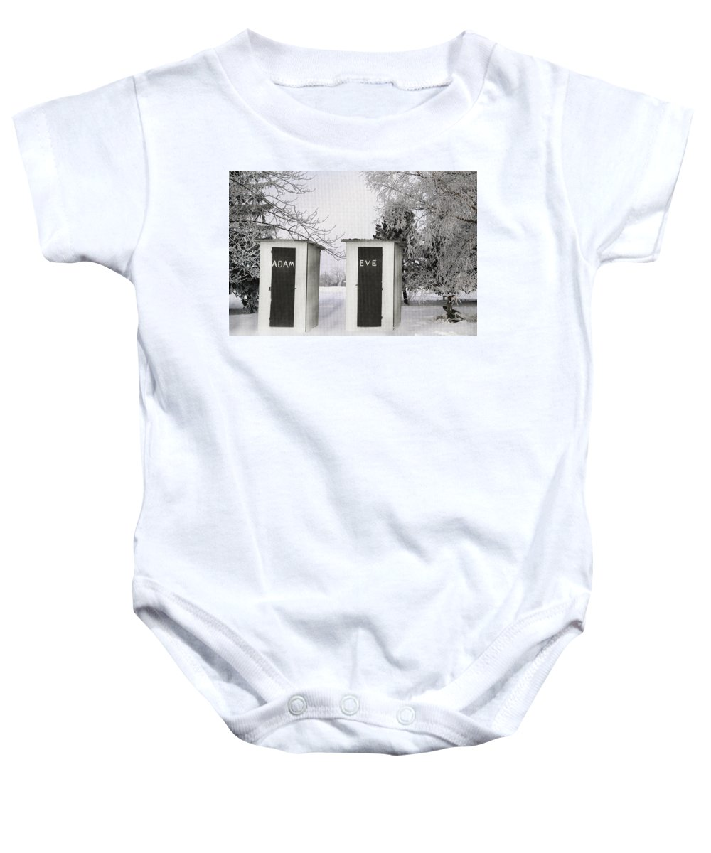 Adam And Eve Baby Onesie featuring the photograph Adam And Eve Not For Me by Randall Branham