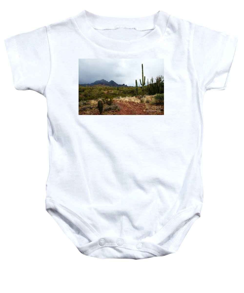 Saguaro Baby Onesie featuring the photograph After The Rain by Vivian Christopher