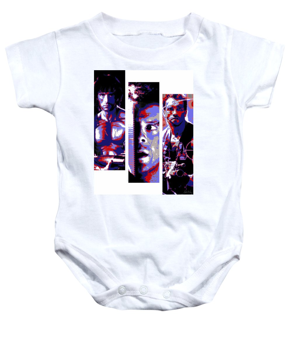 Rambo Baby Onesie featuring the digital art All-american 80's Action Movies by Dale Loos Jr