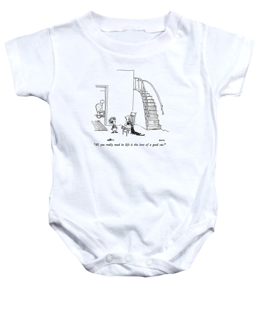 Animals Baby Onesie featuring the drawing All You Really Need In Life Is The Love Of A Good by George Booth
