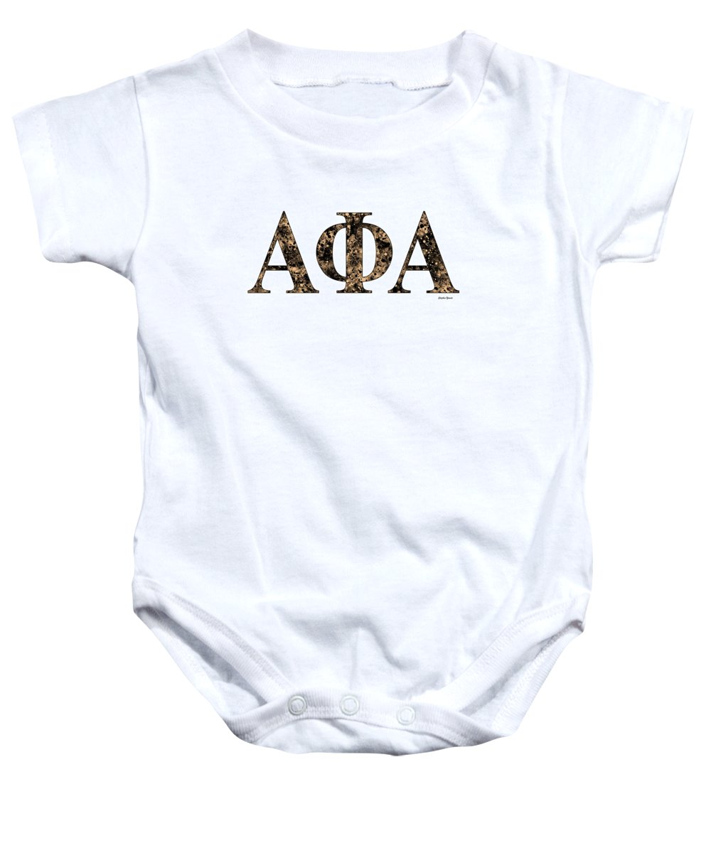 Alpha Phi Alpha Baby Onesie featuring the digital art Alpha Phi Alpha - White by Stephen Younts
