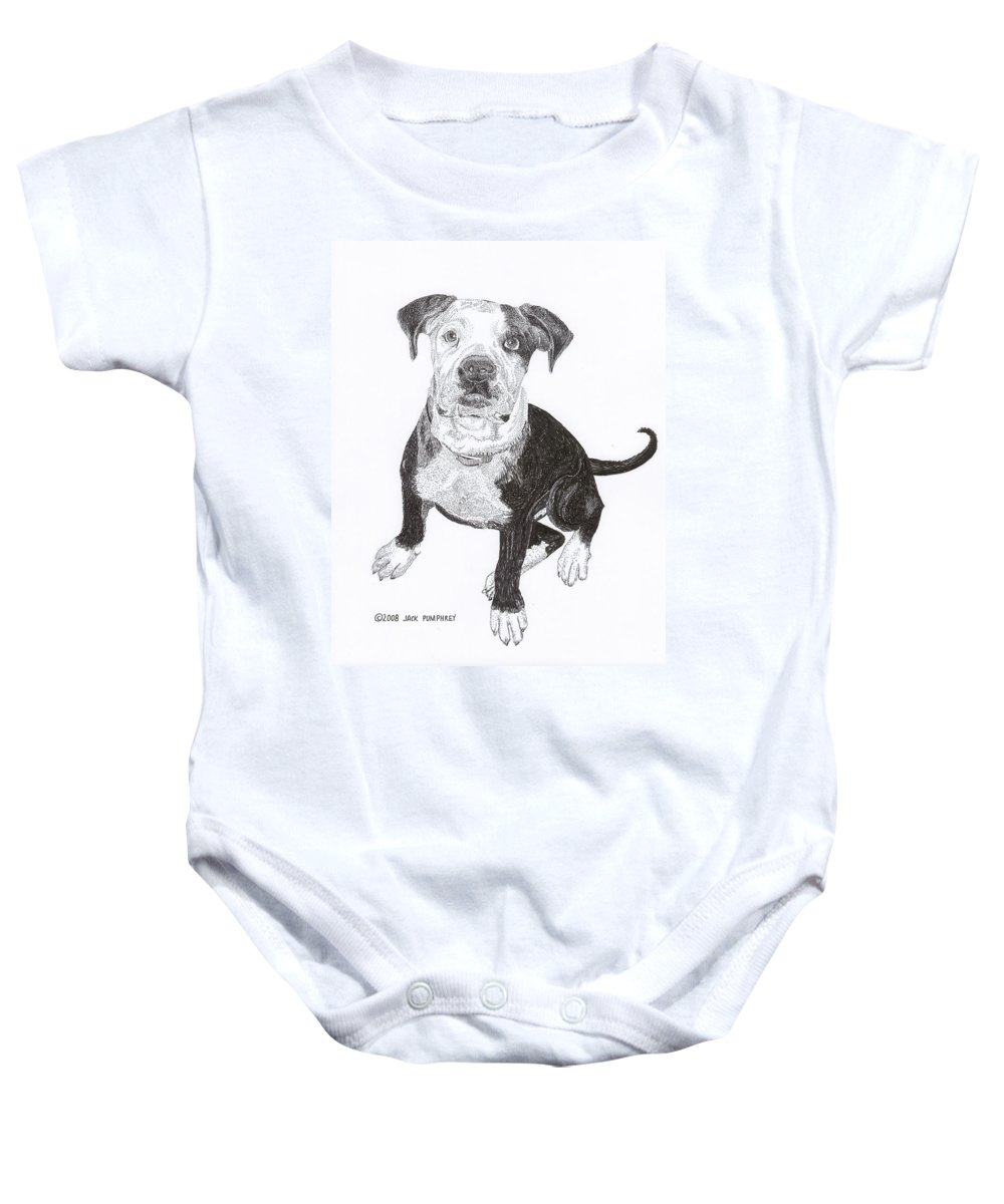 Bull Dog Puppies Baby Onesie featuring the drawing American Bull Dog As A Pup by Jack Pumphrey