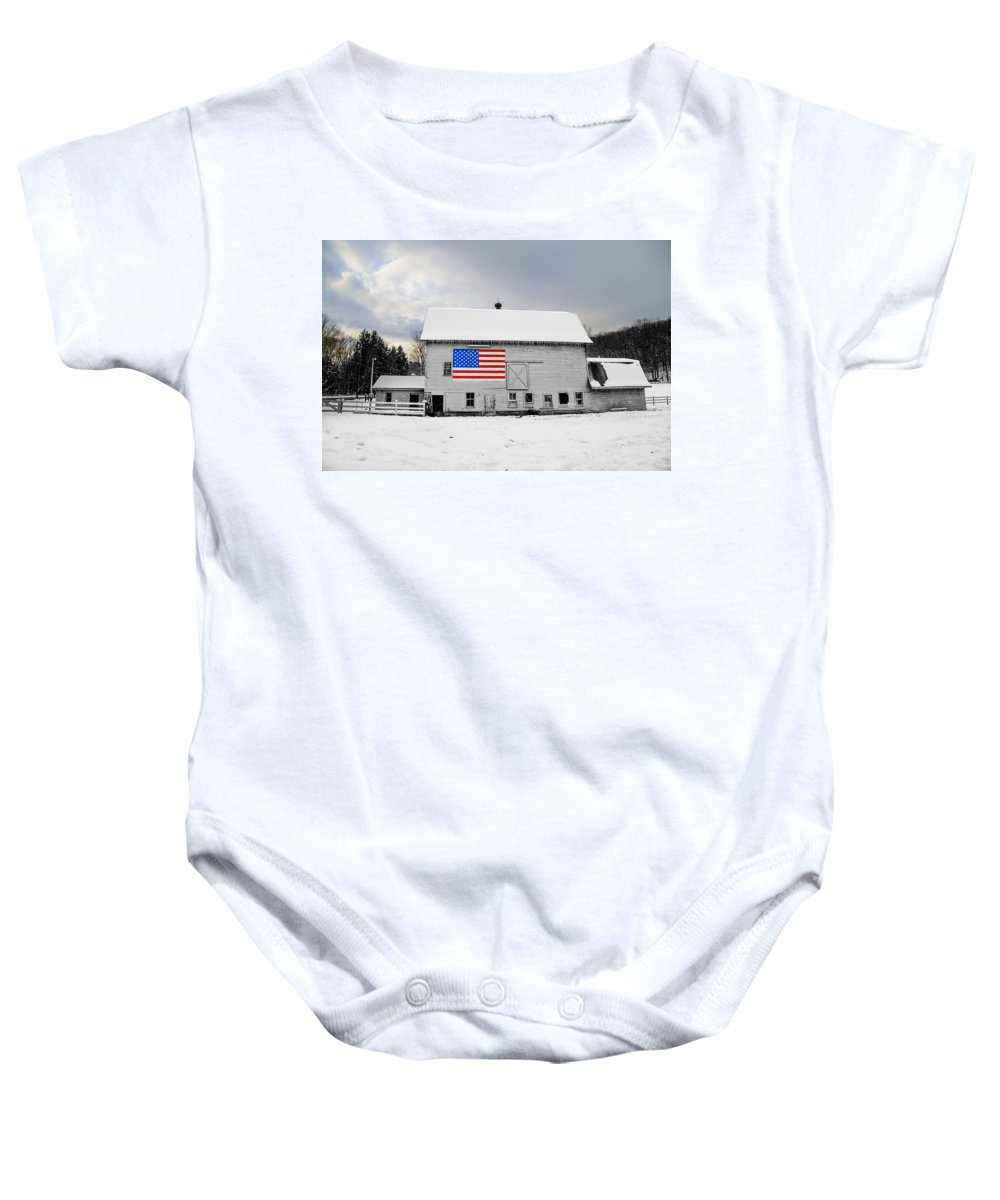 Flag Baby Onesie featuring the photograph American Flag On A Pennsylvania Barn by Bill Cannon