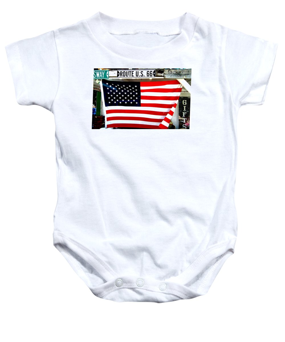 American Baby Onesie featuring the photograph American Flag Route 66 by Dany Lison