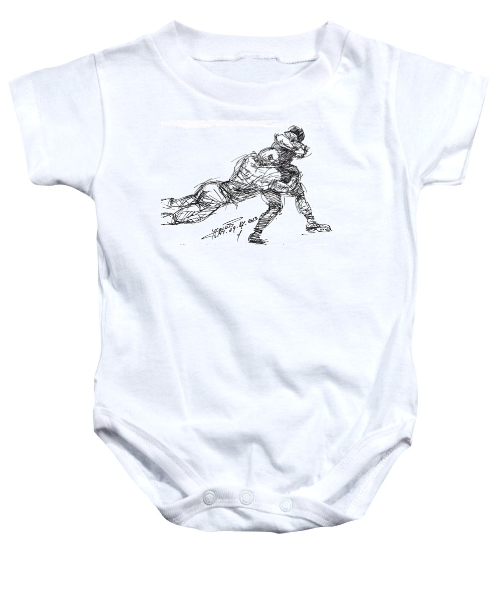 American Football Baby Onesie featuring the drawing American Football 2 by Ylli Haruni