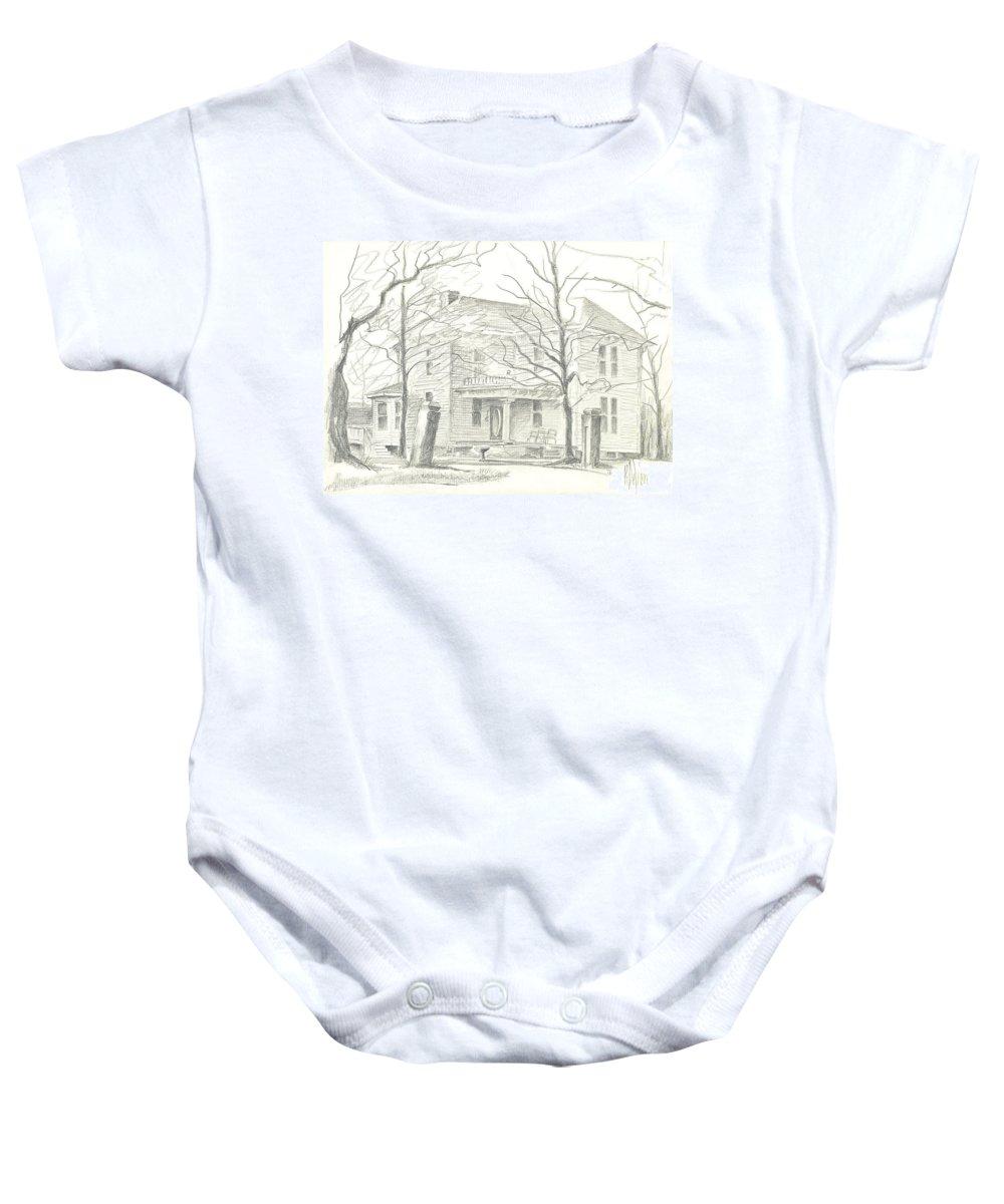 American Home Ii Baby Onesie featuring the drawing American Home II by Kip DeVore