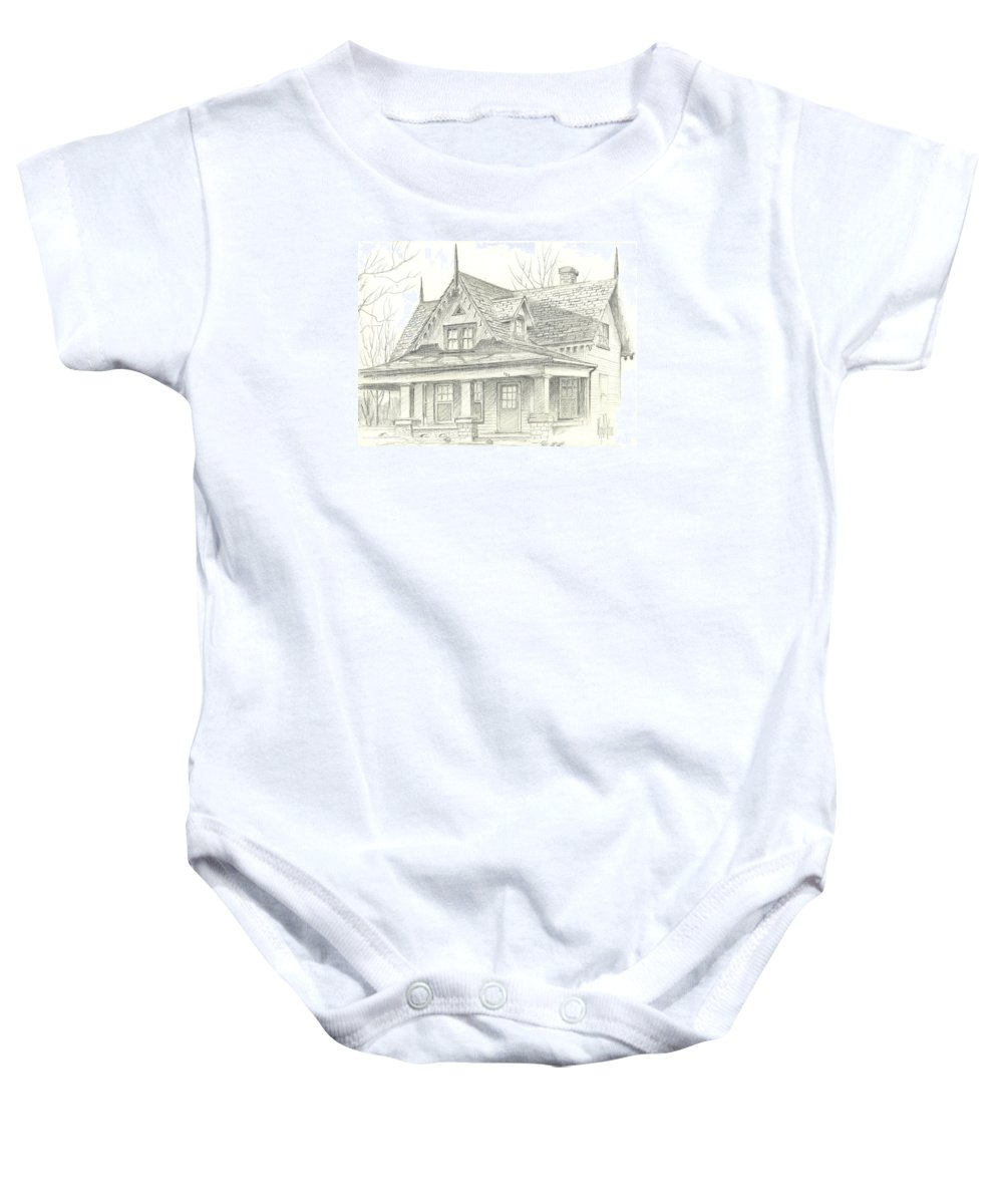 American Home Baby Onesie featuring the drawing American Home by Kip DeVore