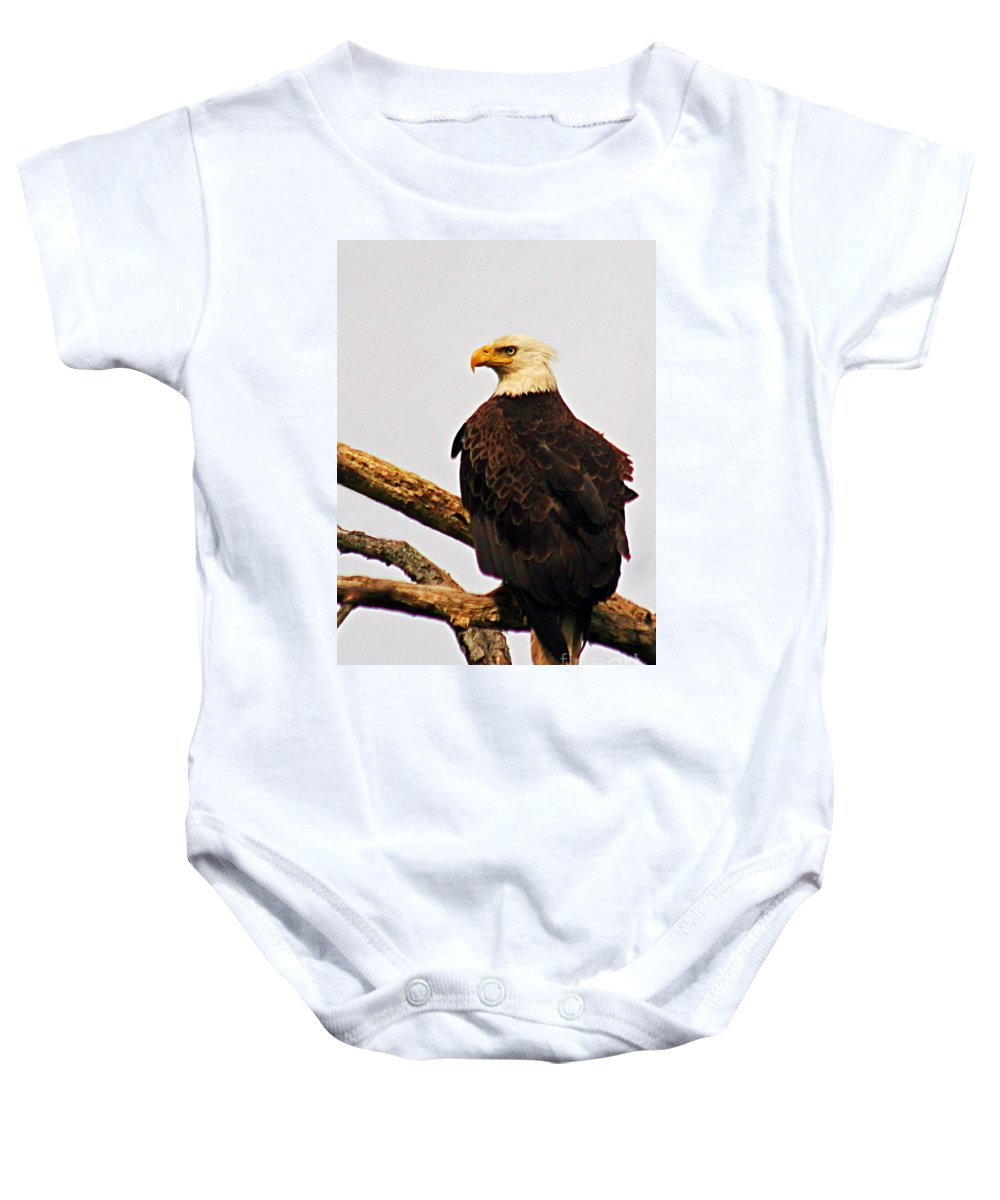 Bald Eagles Baby Onesie featuring the photograph An Eagle's Perch by Polly Peacock