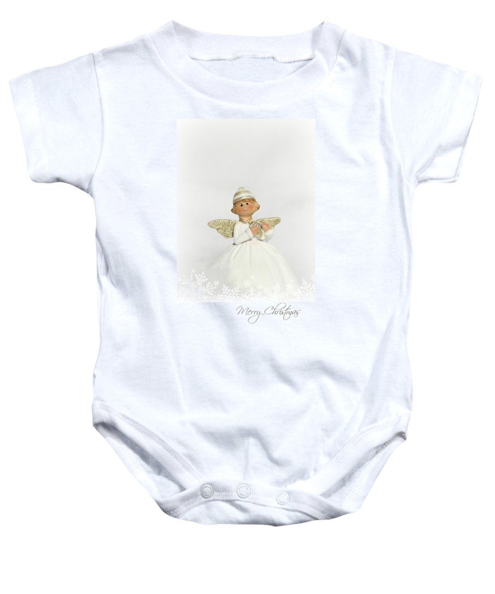 Baby Onesie featuring the mixed media Angels by Heike Hultsch