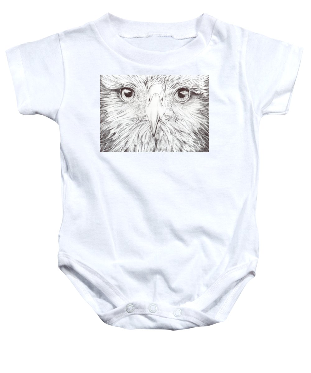 Birds Art Baby Onesie featuring the drawing Animal Kingdom Series - Bird Of Prey by Bobbie S Richardson