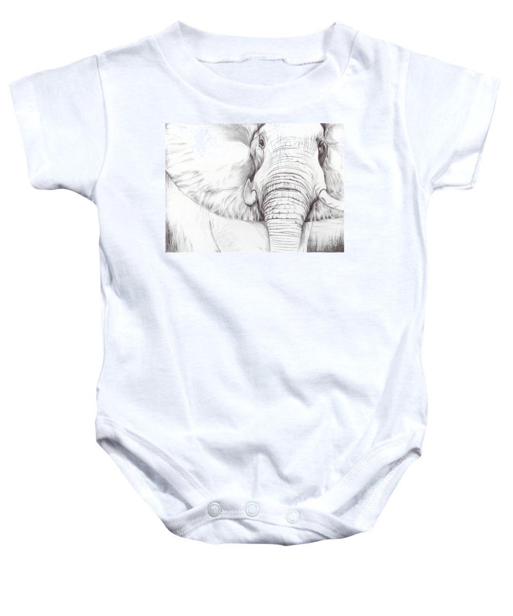Animal Baby Onesie featuring the drawing Animal Kingdom Series - Gentle Giant by Bobbie S Richardson