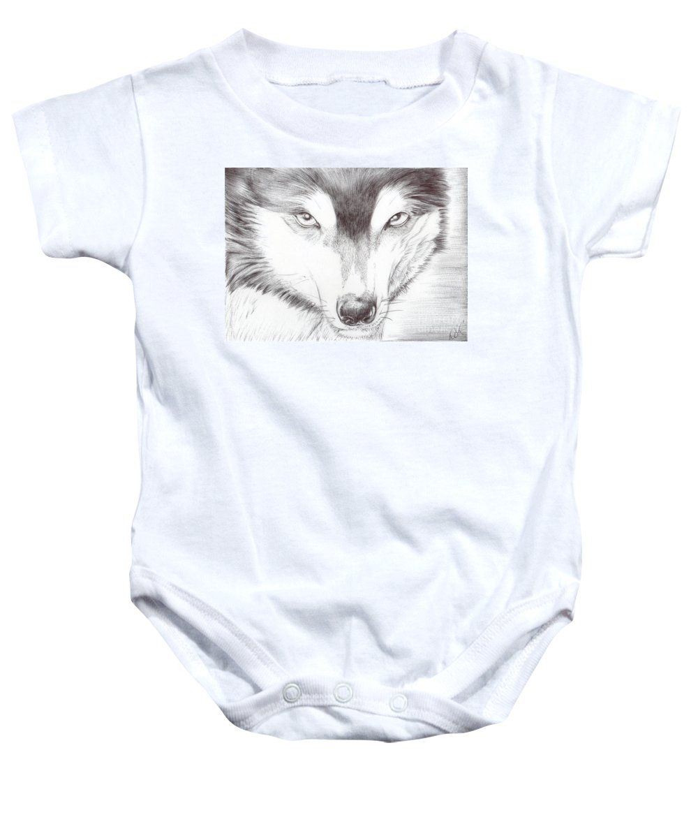 Animal Baby Onesie featuring the drawing Animal Kingdom Series - Wild Friend by Bobbie S Richardson