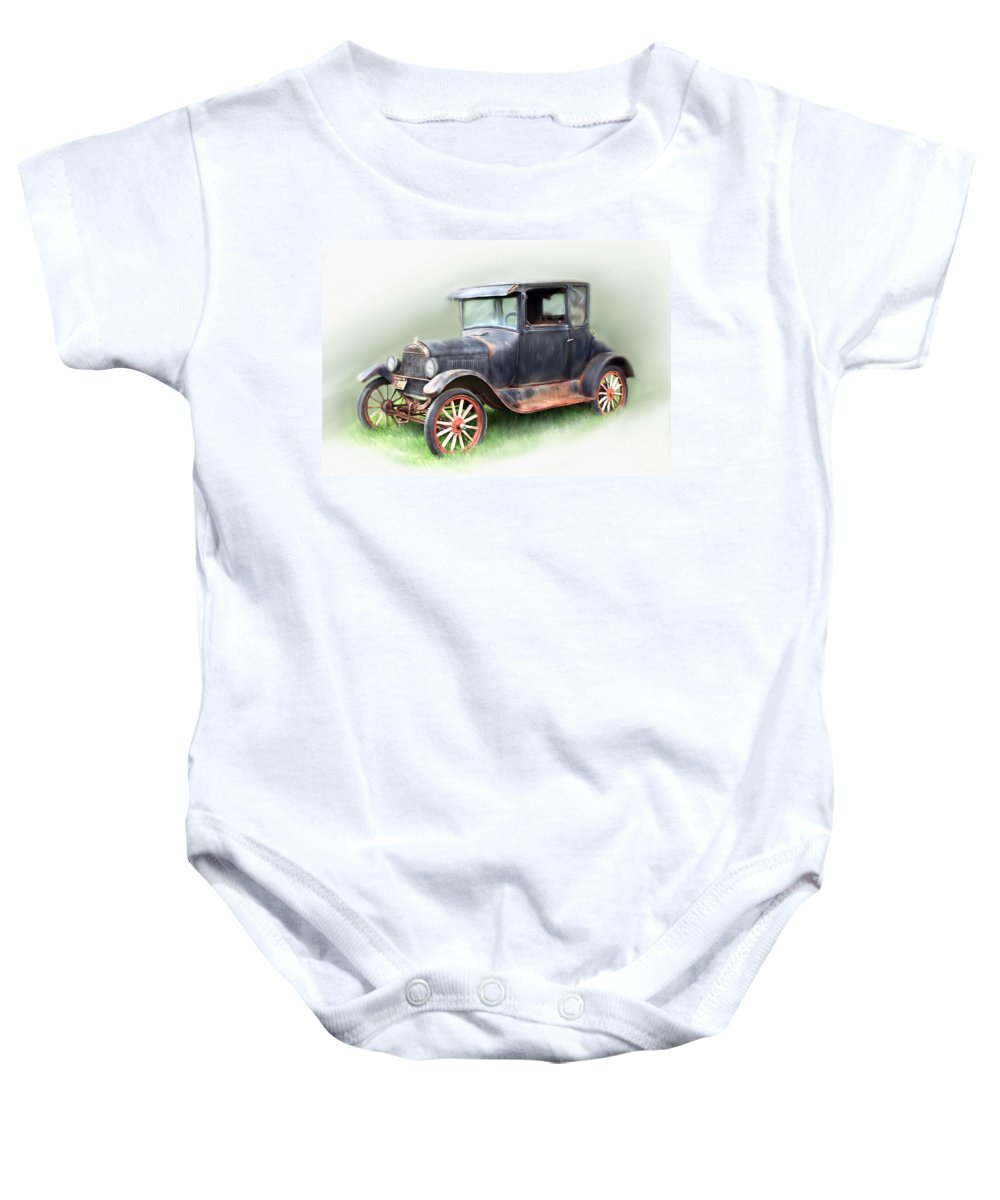Model T Car Baby Onesie featuring the painting Antique Car by Bonnie Willis