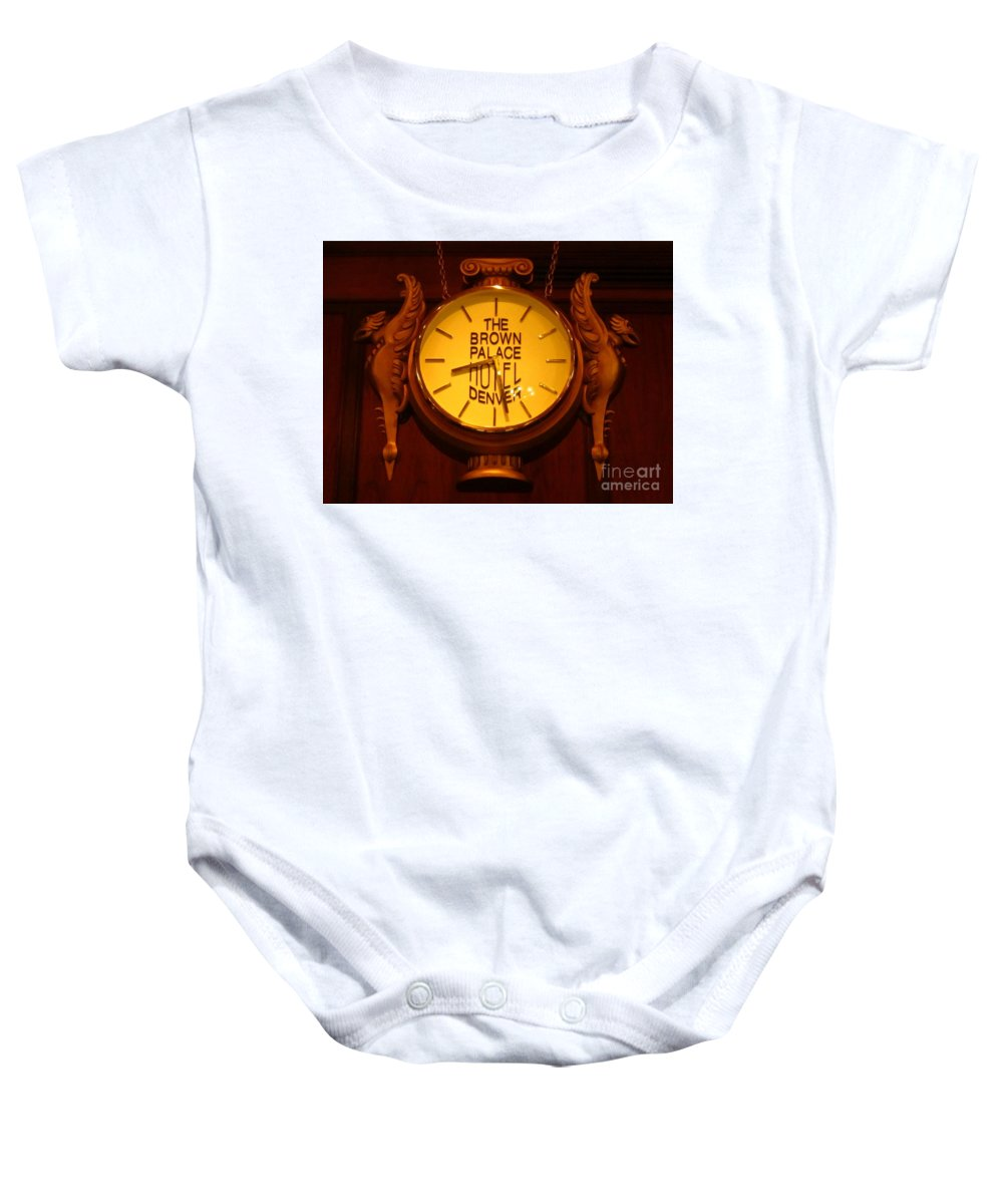 Antique Clock Art Baby Onesie featuring the photograph Antique Clock At The Bown Palace Hotel by John Malone