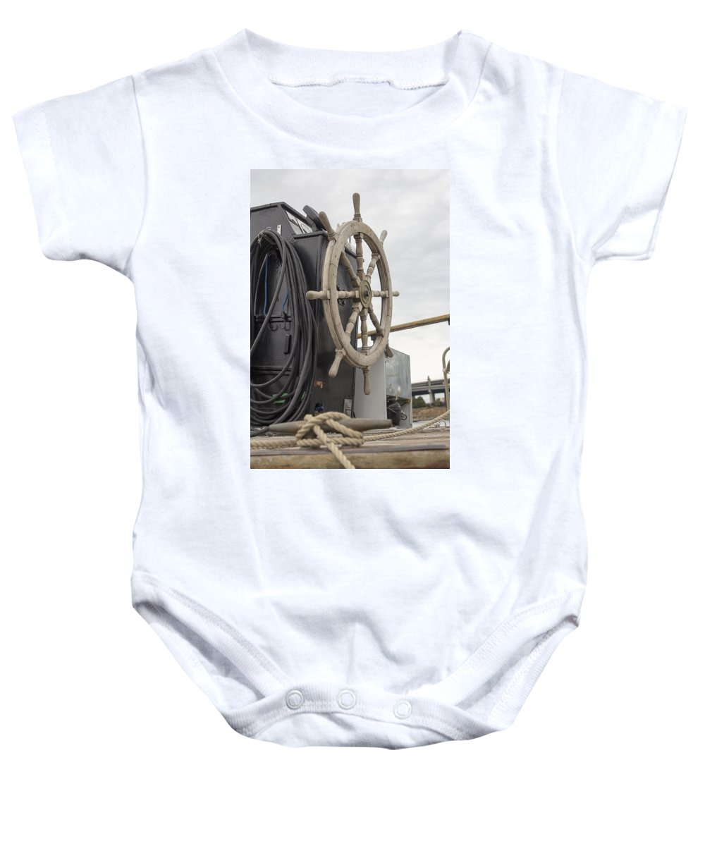 Steering Baby Onesie featuring the photograph Antique Ship Steering Wheel by Jit Lim