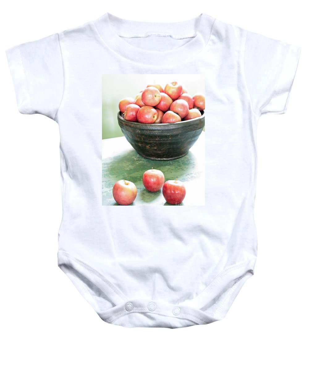 Apples Baby Onesie featuring the photograph Apples On The Table by Carol Groenen