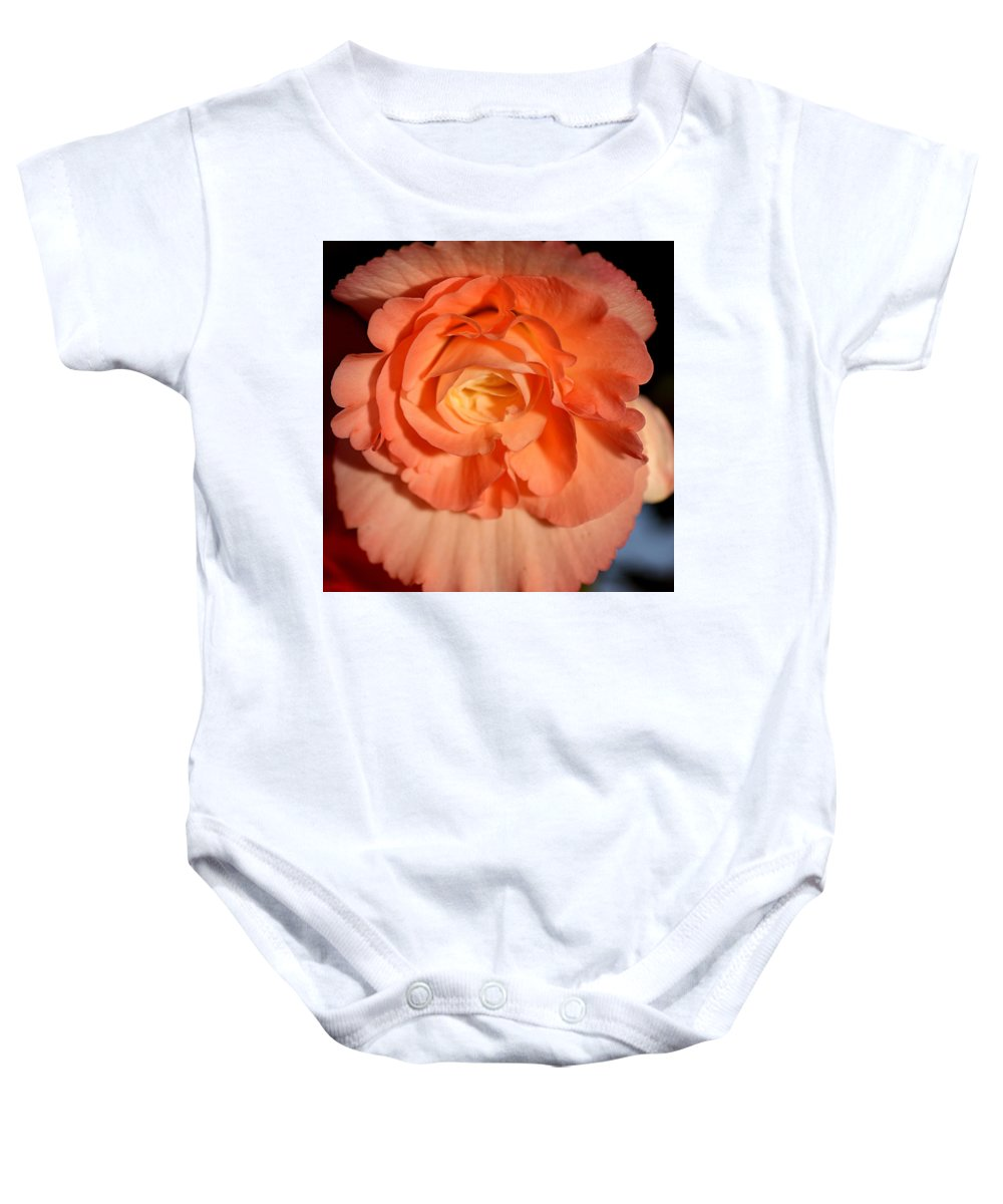 Flowers Baby Onesie featuring the pyrography Apricot Pink Tuberous Begonia by Carole-Anne Fooks