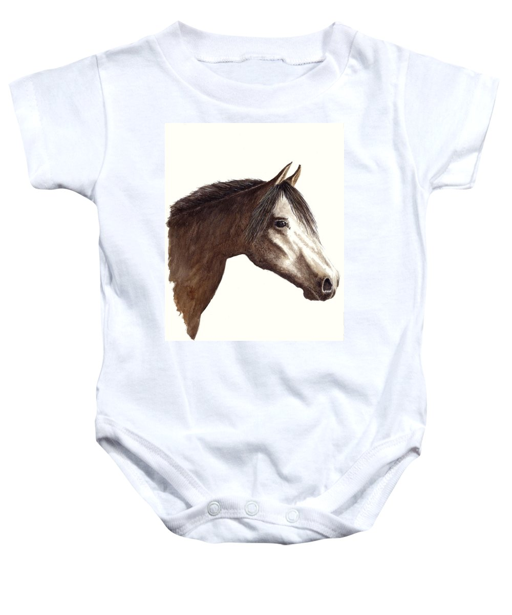 Horse Baby Onesie featuring the painting Arabian Horse by Michael Vigliotti