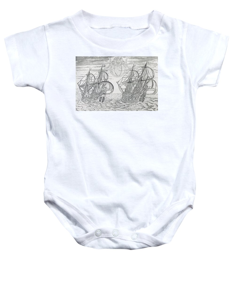Ship; Galleon; Ships; Exploration; Expedition; Northern Lights; Aurora Borealis Baby Onesie featuring the drawing Arctic Phenomena From Gerrit De Veer S Description Of His Voyages Amsterdam 1600 by Netherlandish School