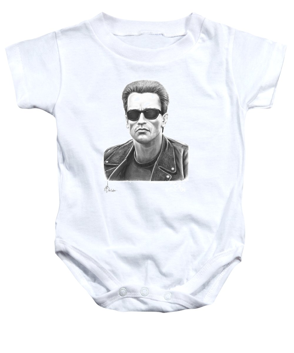 Pencil Baby Onesie featuring the drawing Arnold Schwarzenegger Terminator by Murphy Elliott