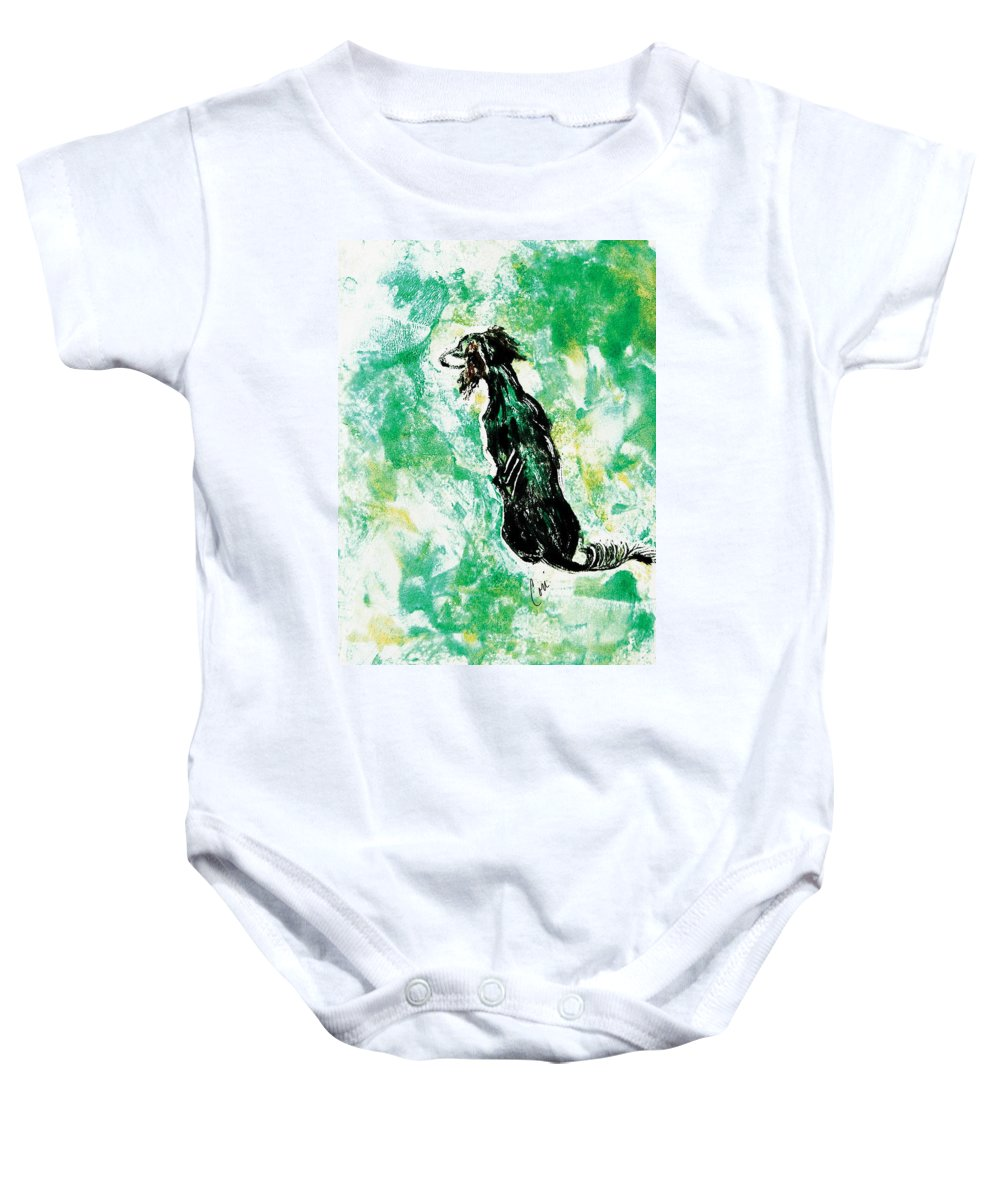 Saluki Baby Onesie featuring the mixed media Around The Bend by Cori Solomon