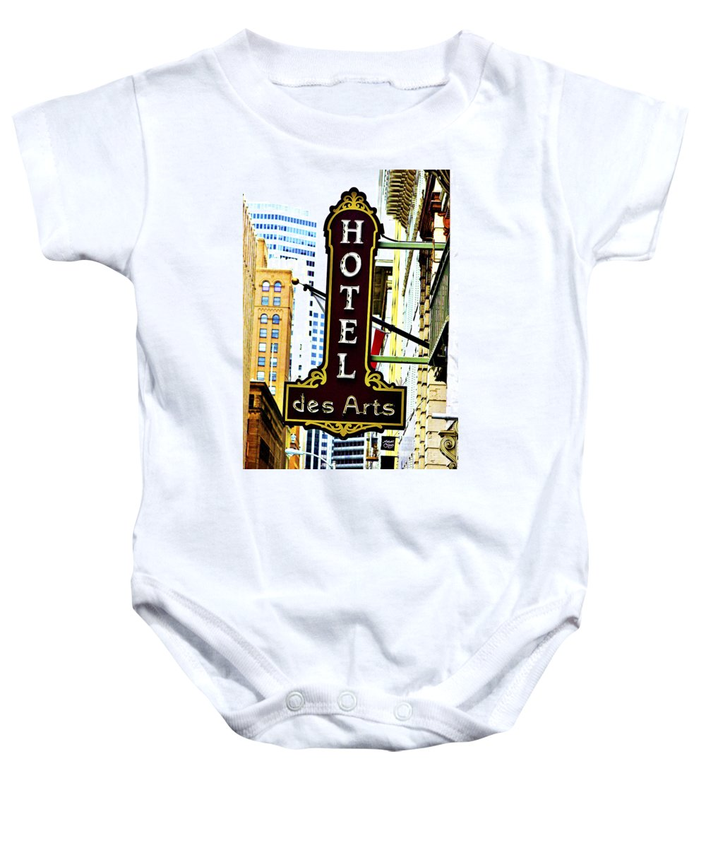Streets Of San Francisco Baby Onesie featuring the photograph Art Hotel by Digital Kulprits