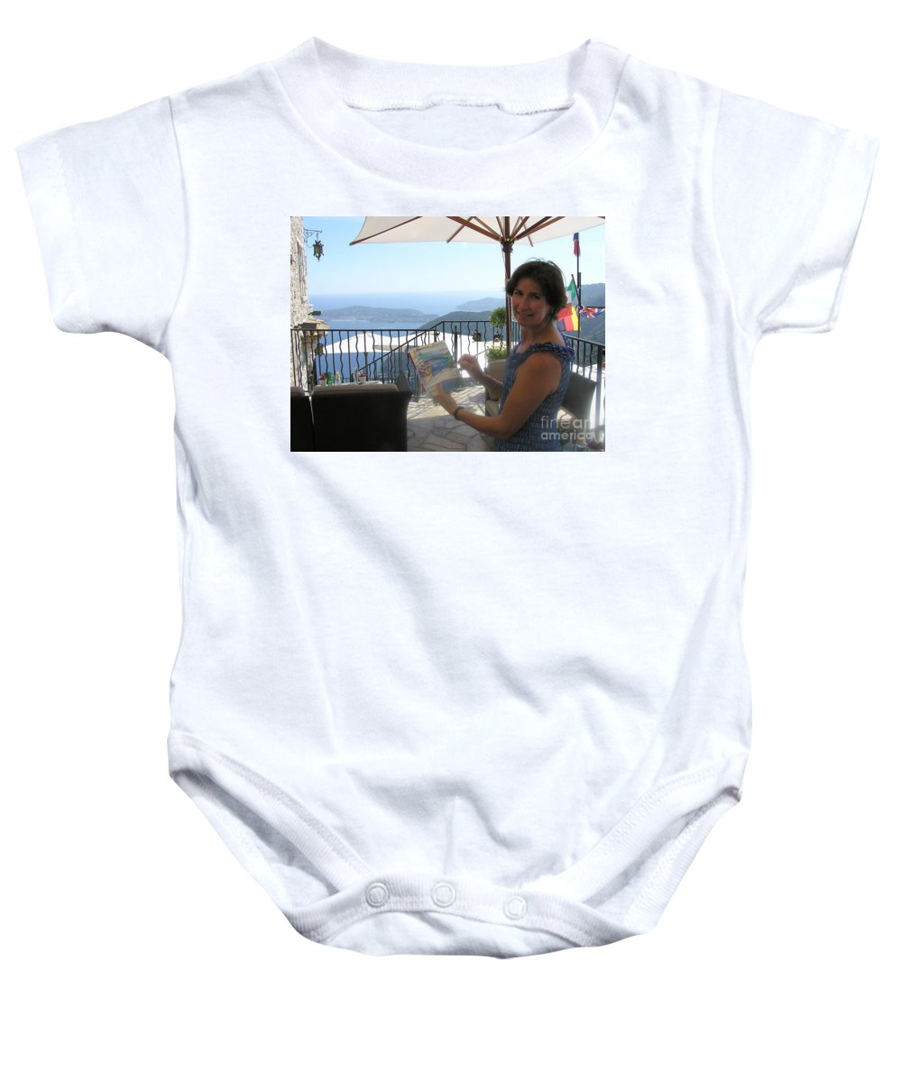 Crystal Cruises Baby Onesie featuring the photograph Artist Painting Monaco by Valerie Freeman