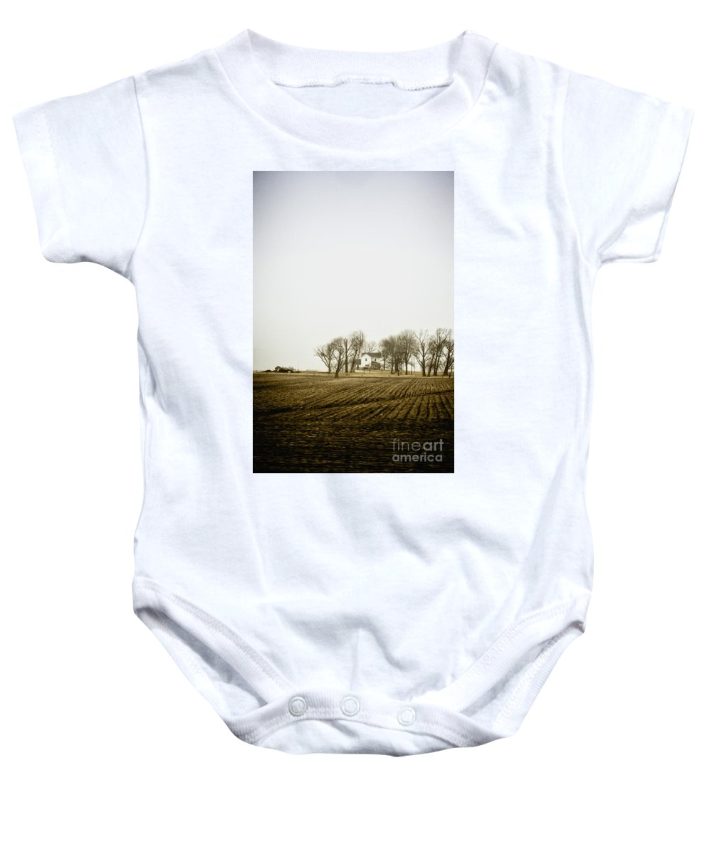Trees Baby Onesie featuring the photograph At The Farm by Margie Hurwich