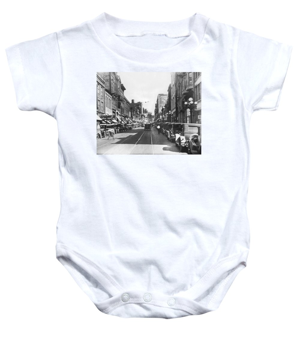 1927 Baby Onesie featuring the photograph Atlanta Shopping District by Underwood & Underwood