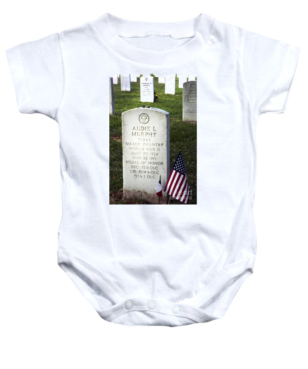 Audie Murphy Baby Onesie featuring the photograph Audie Murphy - Most Decorated by Paul W Faust - Impressions of Light