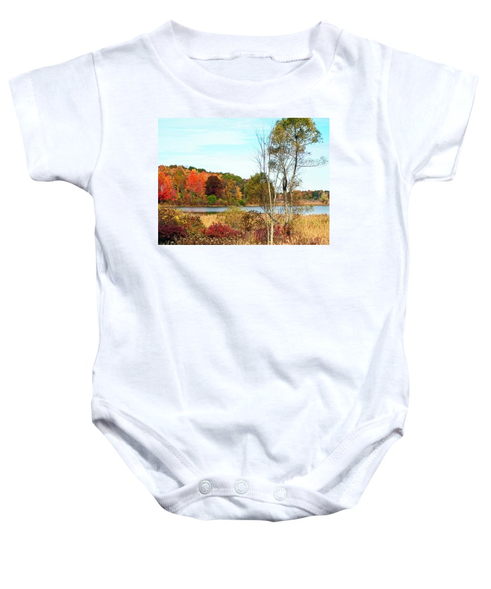 Autumn Baby Onesie featuring the photograph Autmn Pond Closer Look by Aimee L Maher ALM GALLERY