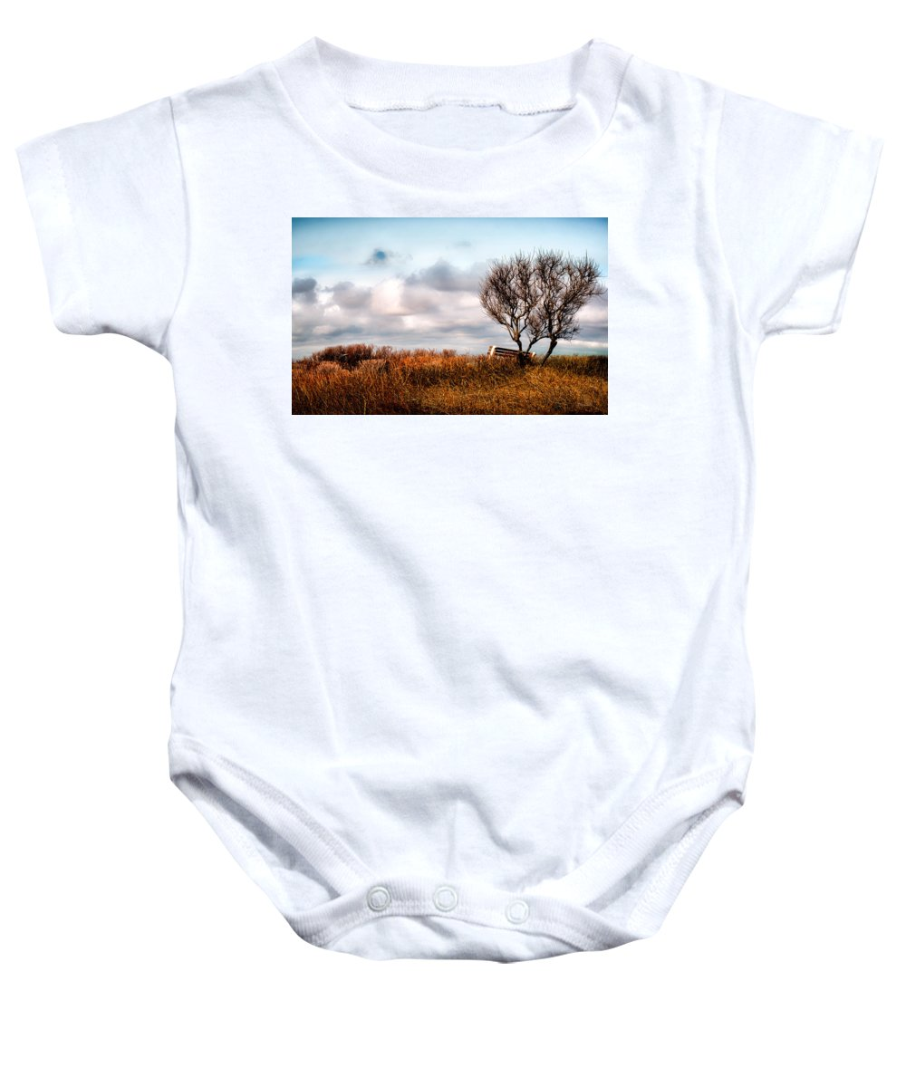 Seasons Baby Onesie featuring the photograph Autumn In Maine by Bob Orsillo