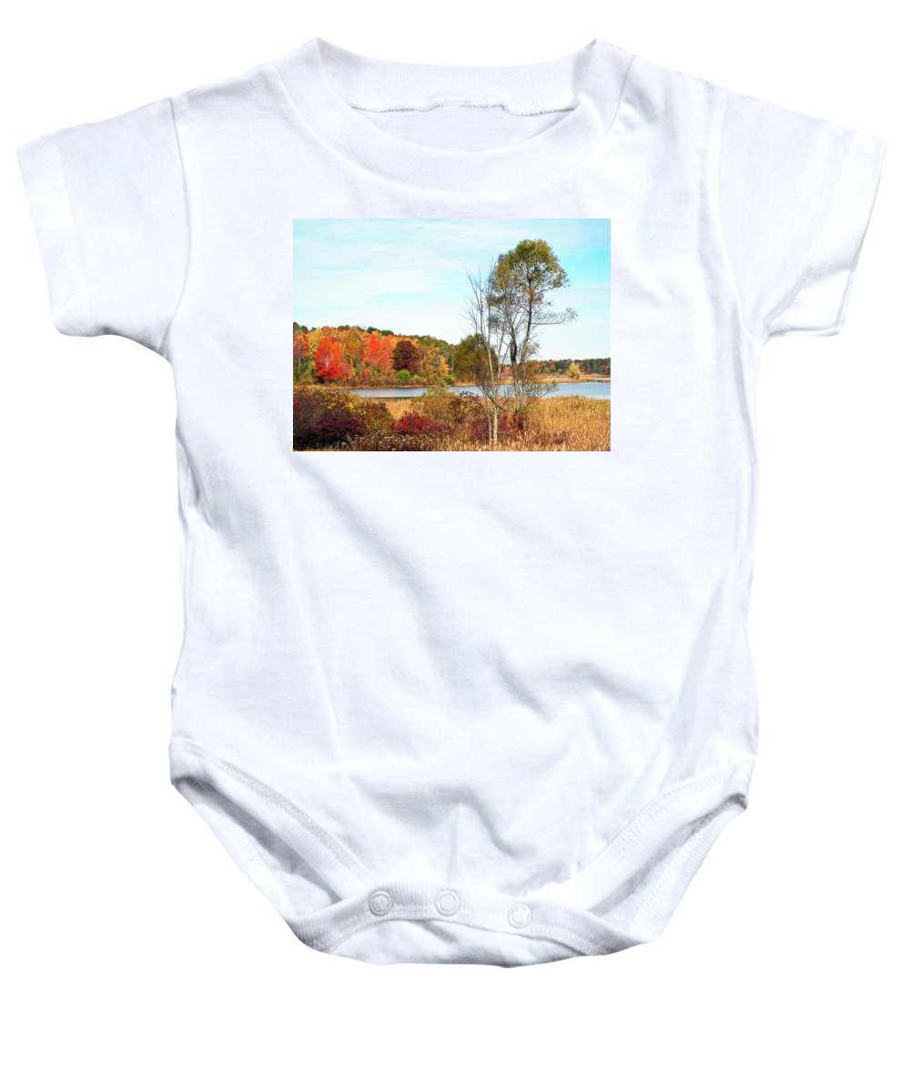 Autumn Baby Onesie featuring the photograph Mendon Ponds In Autumn by Aimee L Maher ALM GALLERY