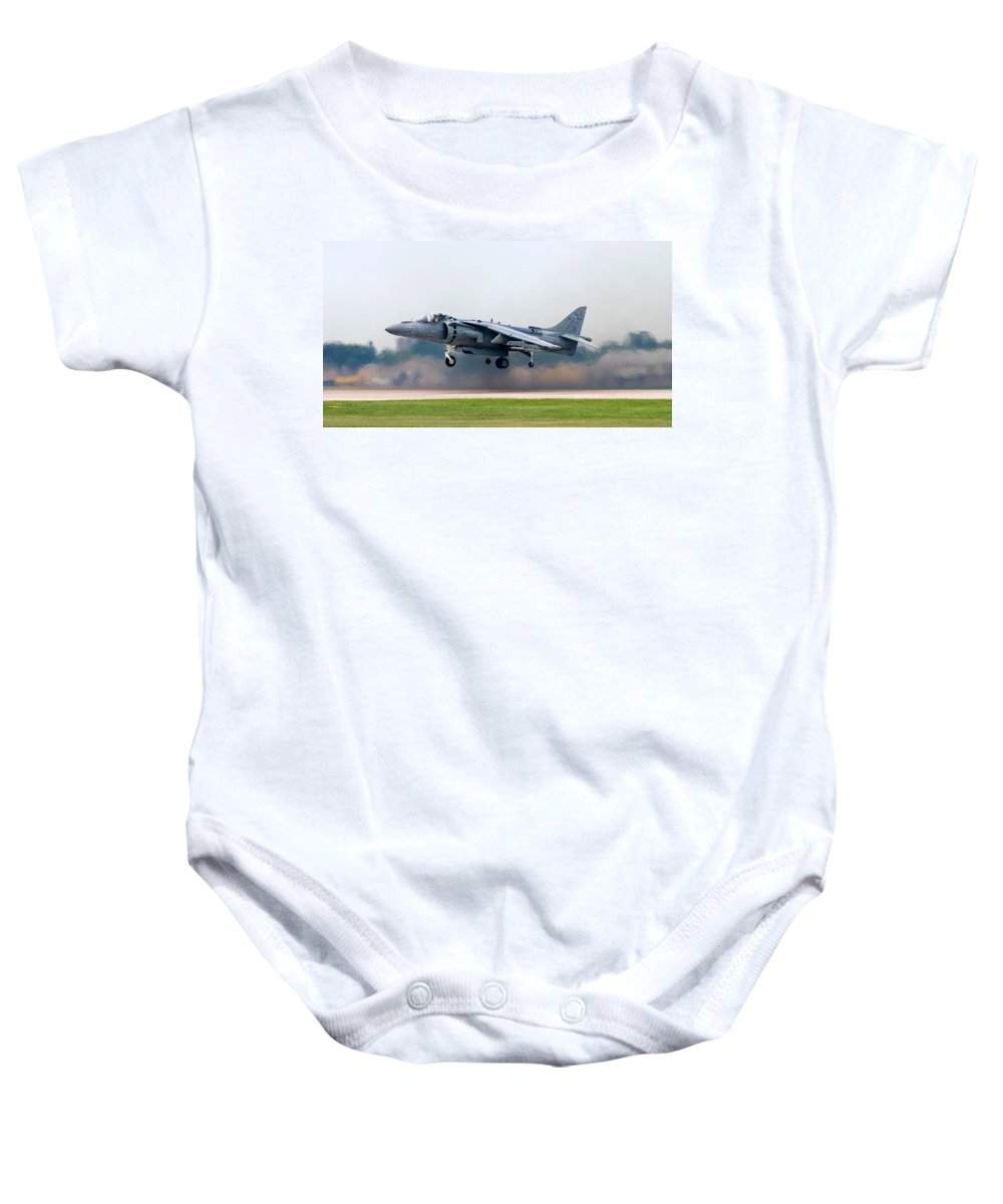 3scape Baby Onesie featuring the photograph Av-8b Harrier by Adam Romanowicz