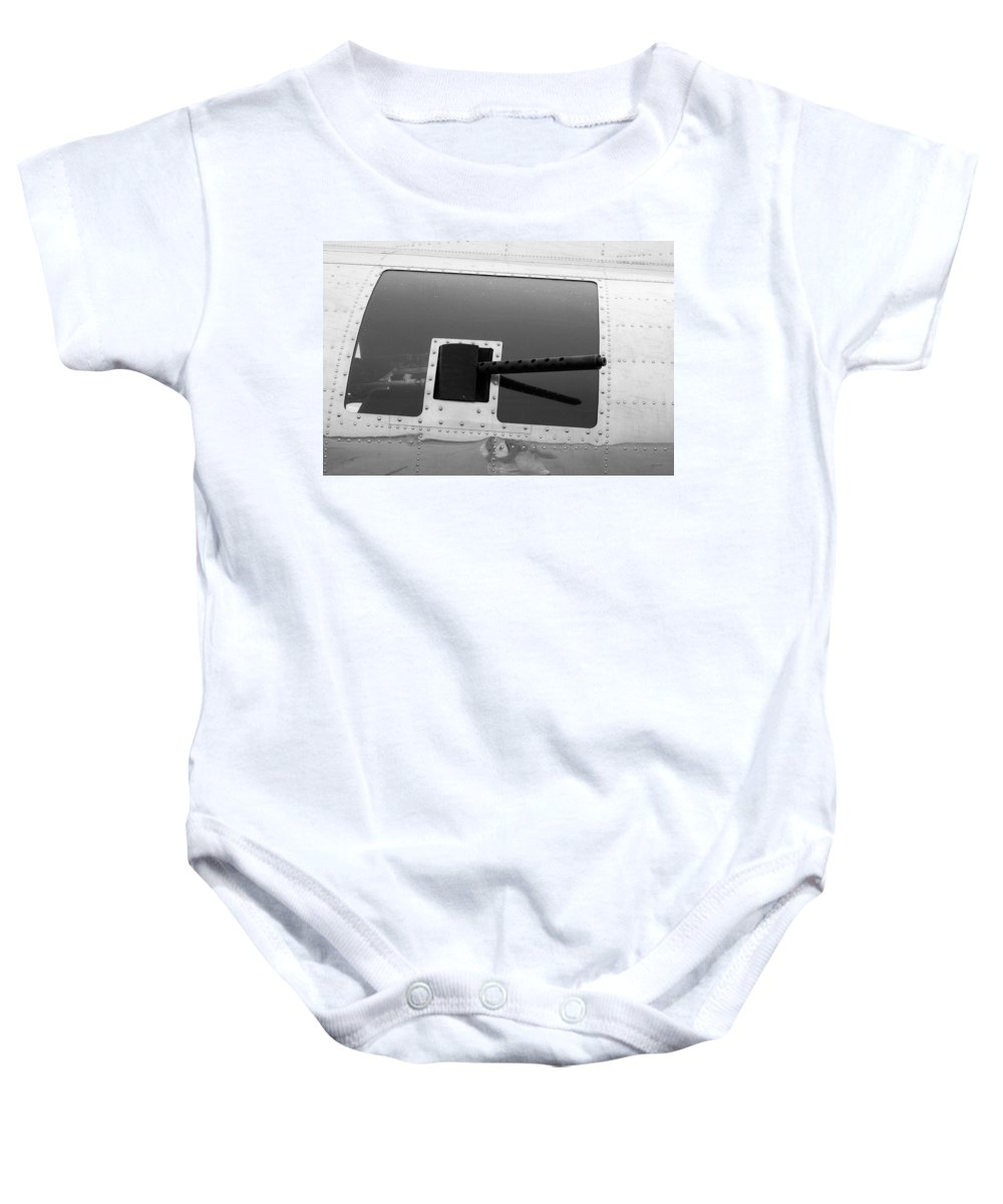 Flying Fortress Baby Onesie featuring the photograph B17 50 Cal Machine Gun by Thomas Woolworth