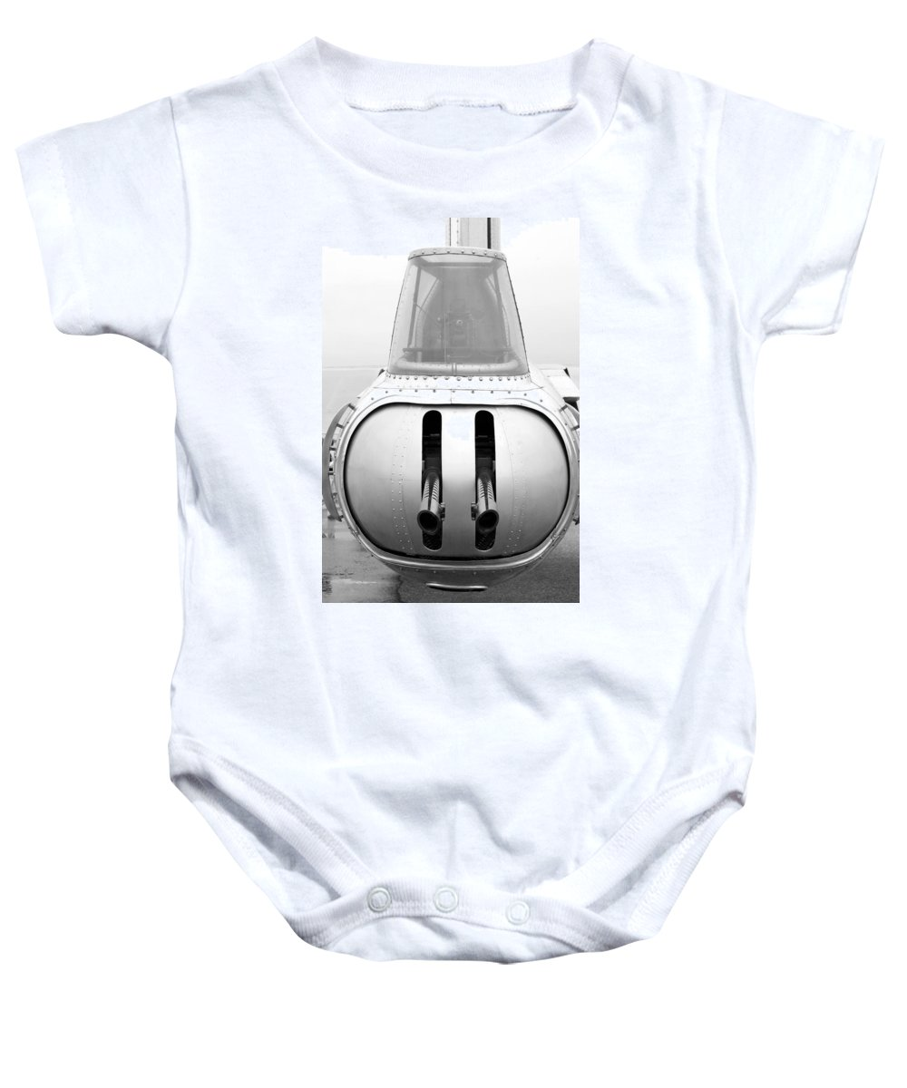 Flying Fortress Baby Onesie featuring the photograph B17 Bomber Tail Guns by Thomas Woolworth