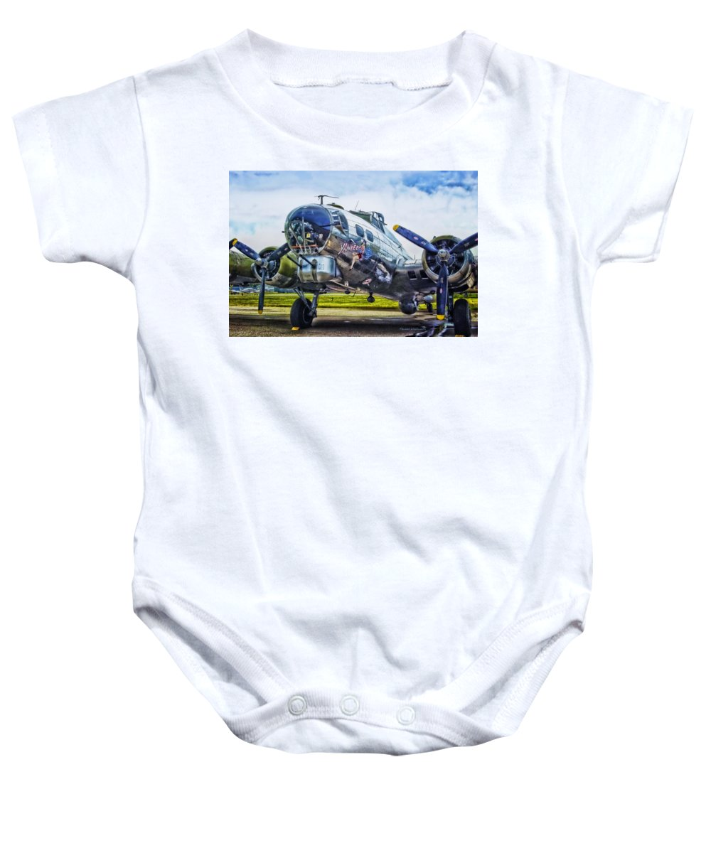 Flying Fortress Baby Onesie featuring the photograph B17 Bomber Yankee Lady by Thomas Woolworth