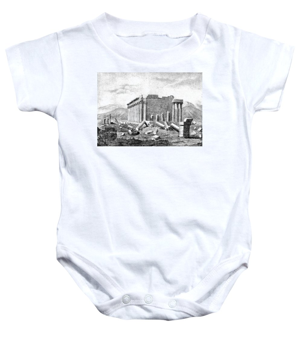 Science Baby Onesie featuring the photograph Baalbek Aka Heliopolis, 1845 by British Library