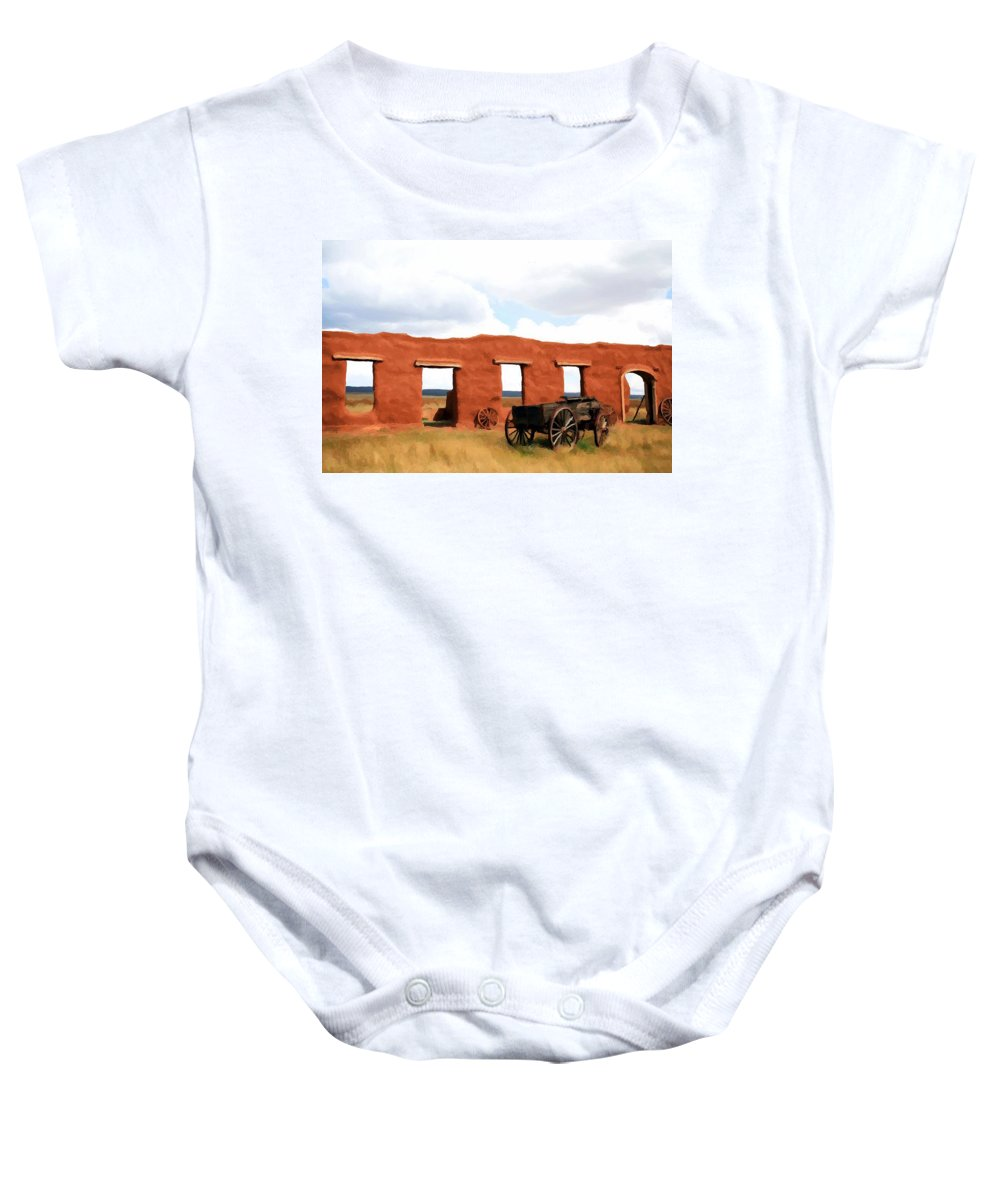 Fort Union Baby Onesie featuring the painting Back When by Jim Buchanan