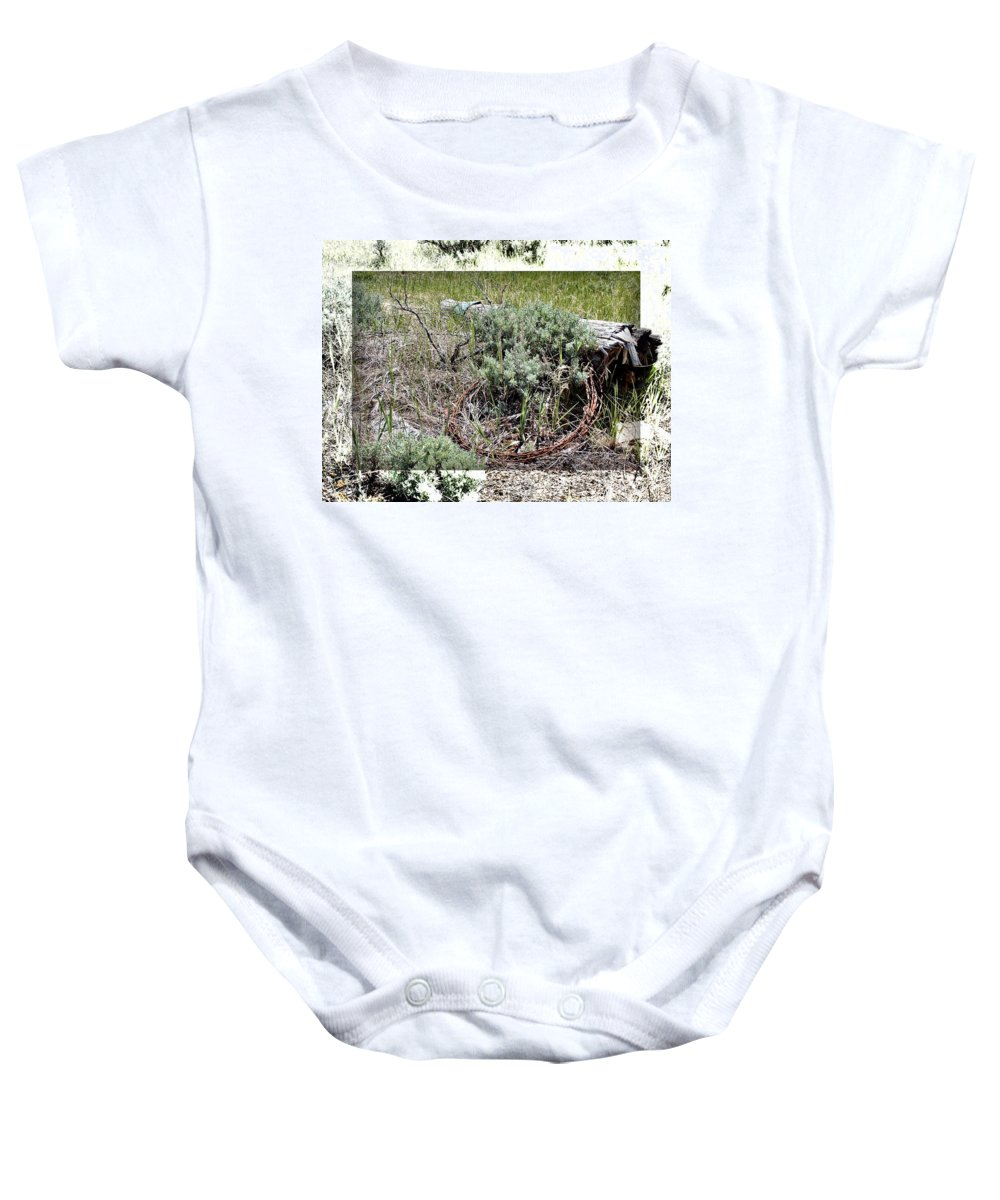 Barbwire Baby Onesie featuring the photograph Barbwire Wreath 2 by Susan Kinney