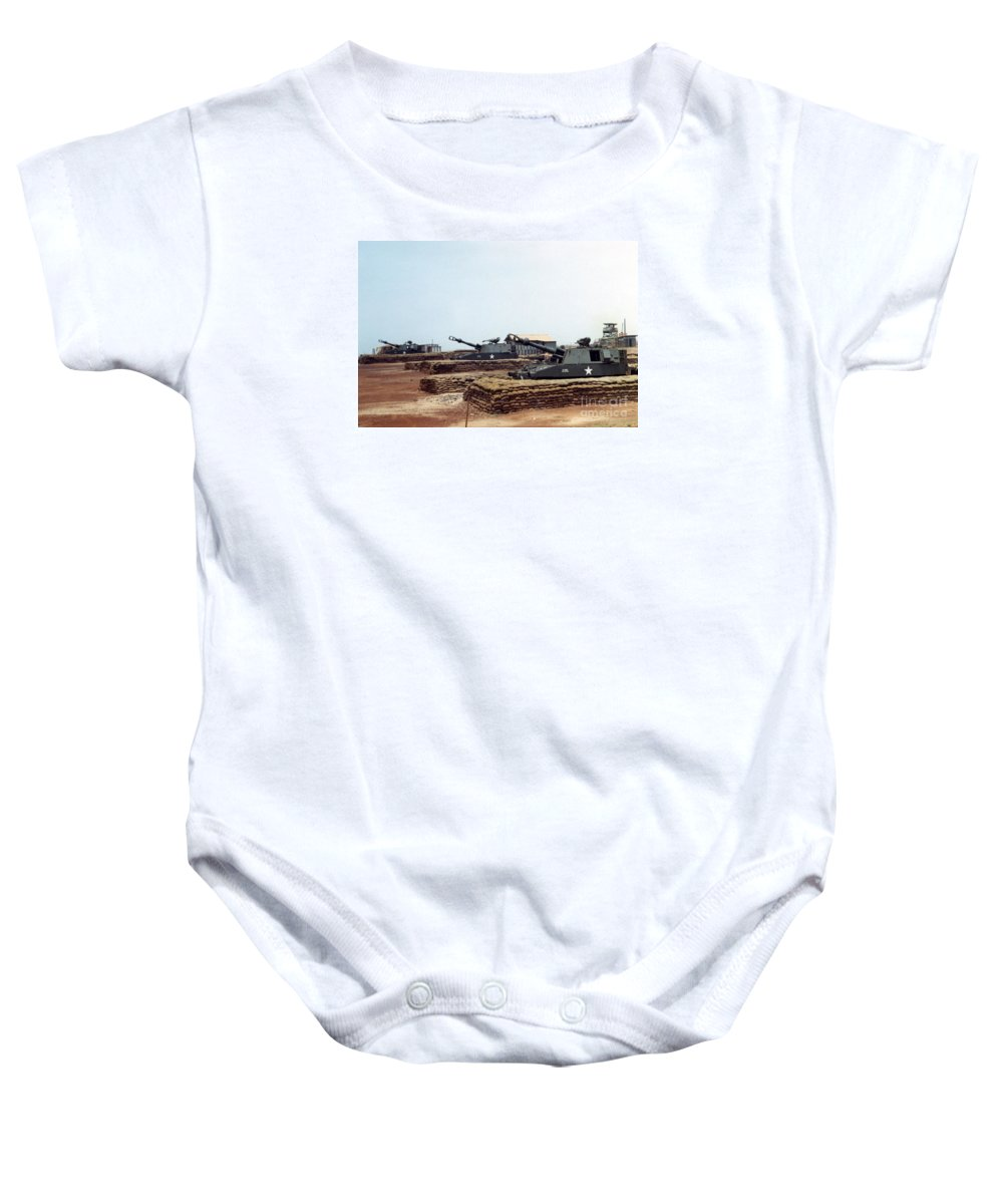 A Battery Baby Onesie featuring the photograph Base Camp Artillery Guns Self-propelled Howitzer M109 Camp Enari Central Highlands Vietnam 1969 by California Views Mr Pat Hathaway Archives