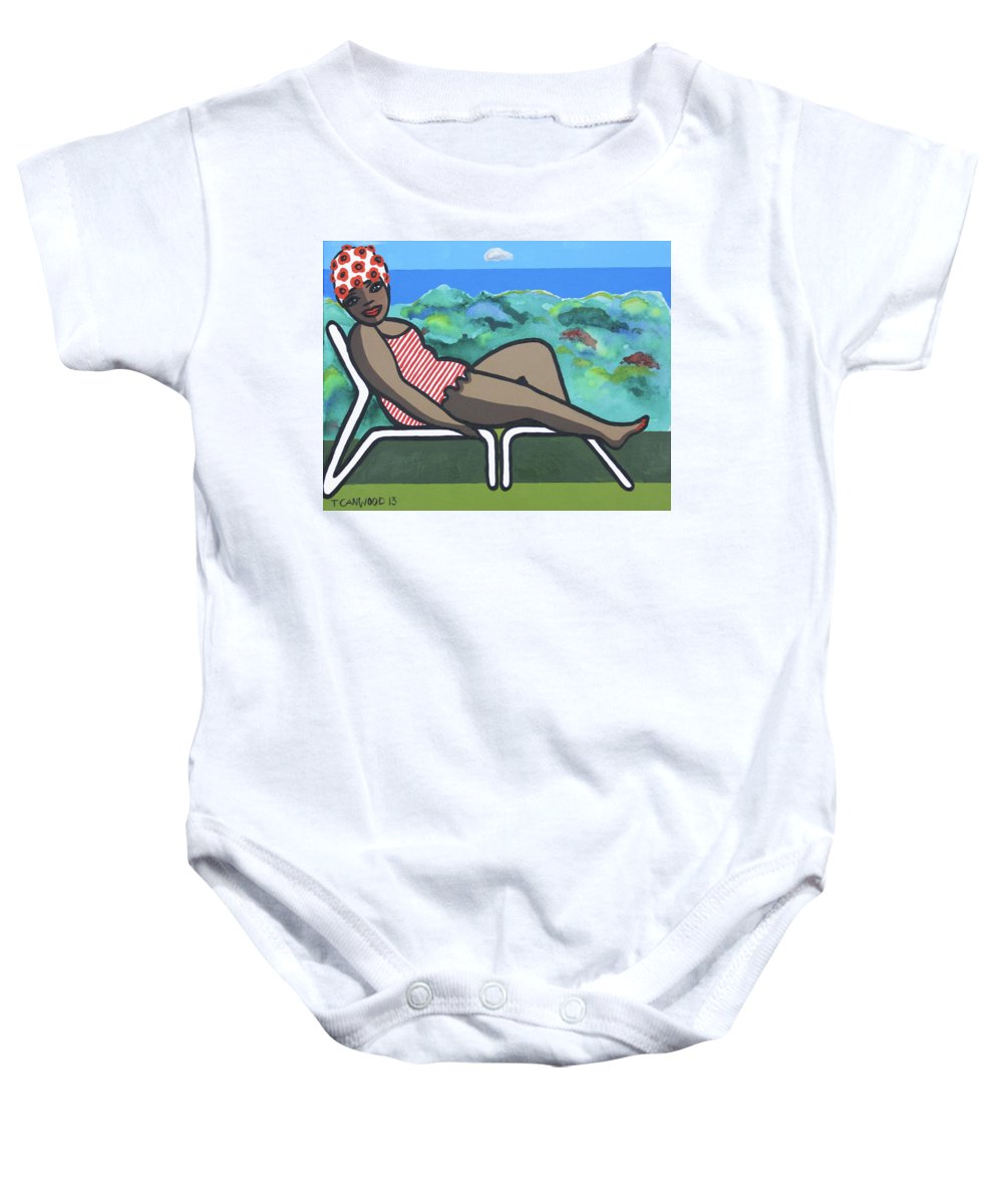 Sea Baby Onesie featuring the painting Bathing Suit 3 by Trudie Canwood