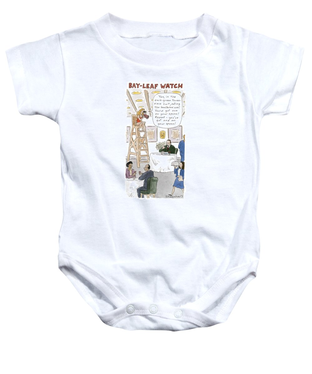 Bay-leaf Watch 'you Baby Onesie featuring the drawing Bay-leaf Watch 'you by Danny Shanahan