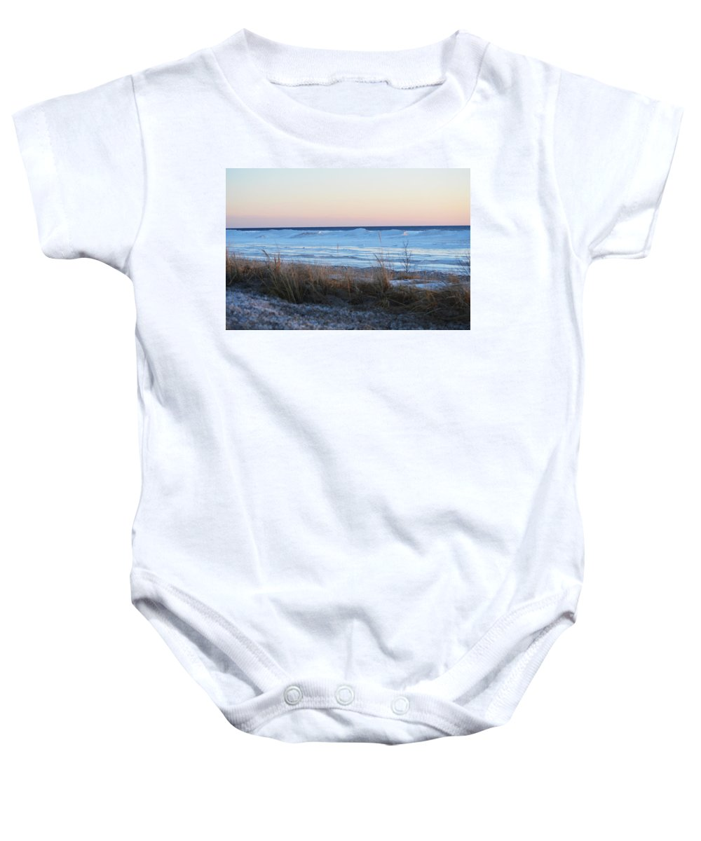 Lake Michigan Baby Onesie featuring the photograph Beach And Ice by Linda Kerkau