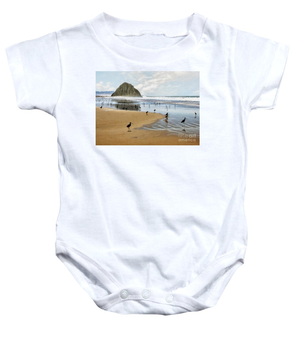 Beach Baby Onesie featuring the photograph Beach Birds Impasto by Sharon Foster