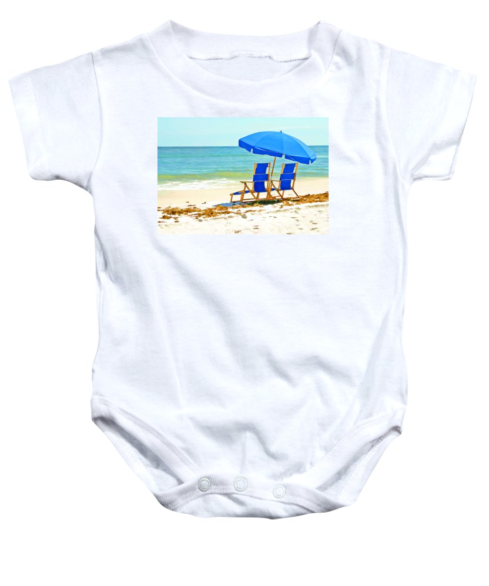 Ocean Baby Onesie featuring the painting Beach Chairs And Umbrella by Elaine Plesser